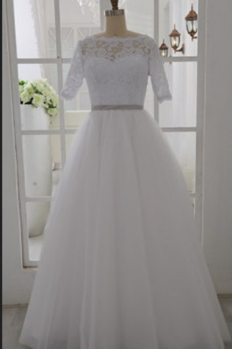 High Neck Half Short Sleeves Lace Wedding Gown,A Line Floor Length White Wedding Dress, Custom Made Cheap Bridal Wedding Gowns,