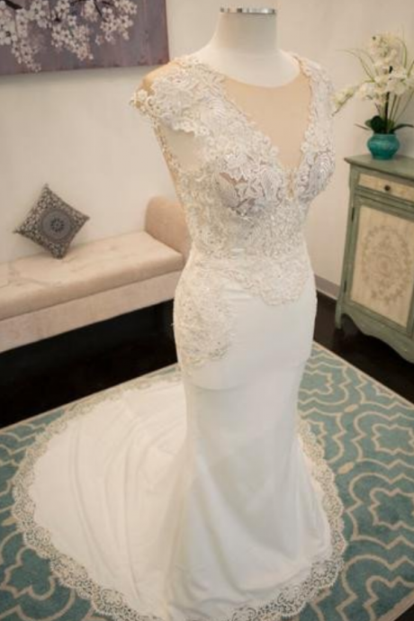 New Arrival V-neck Lace Beaded Long Mermaid Elegant Wedding Dresses