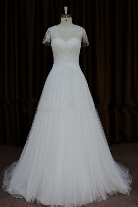 Sheer Short-Sleeved Ruched Tulle A-line Wedding Dress, Bridal Gown