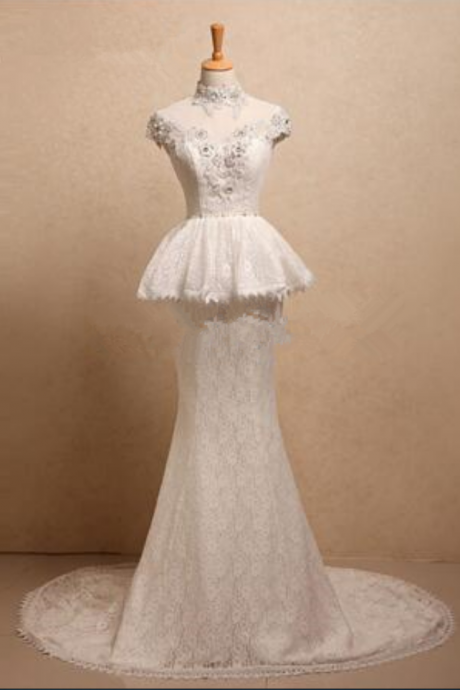 real photo wedding dress applique lace mermaid wedding dress crystal pearls high neck wedding dresses