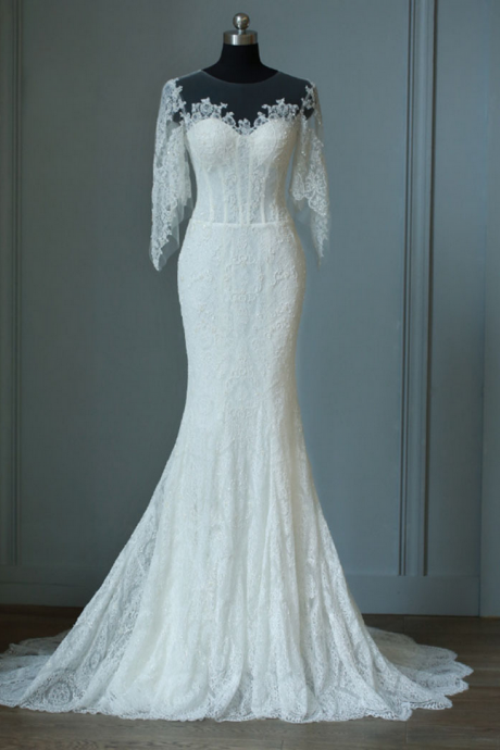 Full Lace Wedding Dress ,Royal Mermaid Half Sleeves Wedding Dress,Ivory Wedding Gown