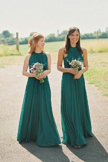 Hunter Green Long Bridesmaid Dress, Chiffon Bridesmaid Dress, Simple Bridesmaid Dress, Cheap Bridesmaid Dress, Bridesmaid Dresses, Halter Bridesmaid Dress