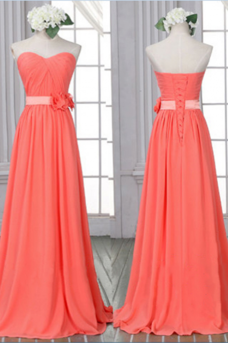 Classic Watermelon Bridesmaid Dresses, Chiffon Bridesmaid Dress with Lace-up Back, Sheath Bridesmaid Dress with Flowers,