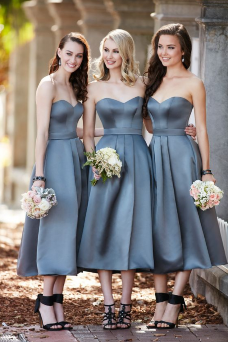 A Line Bridesmaid Dress, Ankle Length Bridesmaid Dress, Short Bridesmaid Dress, Gray Bridesmaid Dress, Bridesmaid Dresses , Wedding Guest Dress, Cheap Bridesmaid Dress, Satin Bridesmaid Dress