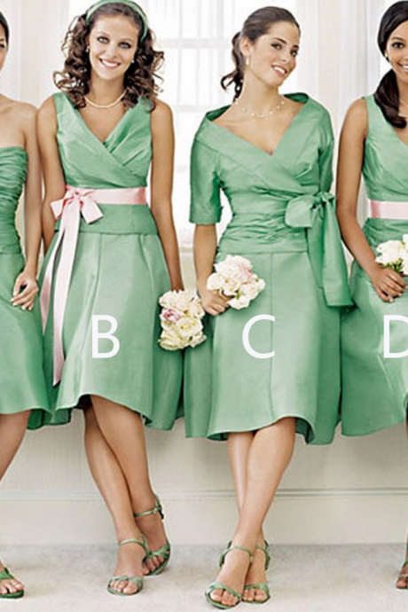 Unique Women Satin Mismatched Green Different Styles Cheap Short Bridesmaid Dresses,