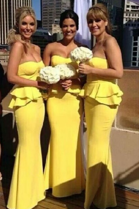 Chic Peplum Bridesmaid Dresses Bright Yellow Mermaid Ruffles Maid of Honor Dress