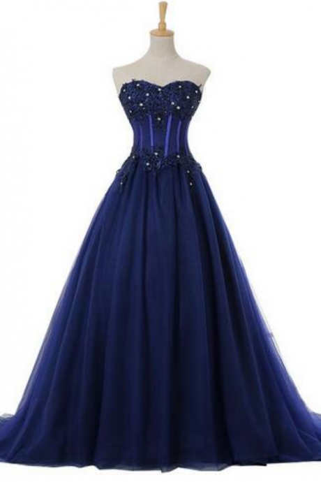 Exposed Boning Evening Dresses Cheap Plus Size Sexy Strapless Sleeveless Beaded Party Prom Dresses Navy Blue Lace Formal Evening Gowns