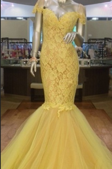 Charming Prom Dress,Cap Sleeve Mermaid Evening Dress,Tulle Formal Evening Gown,Lace Prom Dresses