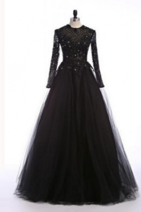 Evening Dress-Full sleeve Round Floor-Length Sequin A-Line Evening Dress Cheap