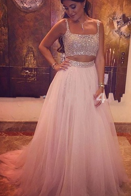 Charming Prom Dress,Beading Prom Dress,A-Line Prom Dress,Tulle Evening Dress