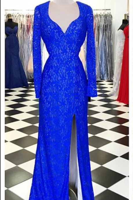 Royal Blue Prom Dresses,Lace Evening Dress,Sexy Prom Dress,Prom Dresses With Long Sleeves,Charming Prom Gown,Open Back Prom Dress,Mermaid Fashion Evening Gowns for Teens