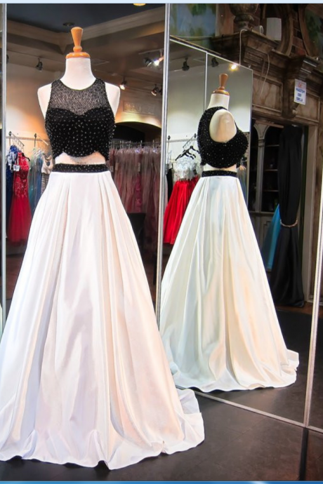 Prom Dresses,Sleeveless Newest Beads Sweep-Train Two-Piece A-line Evening Dress