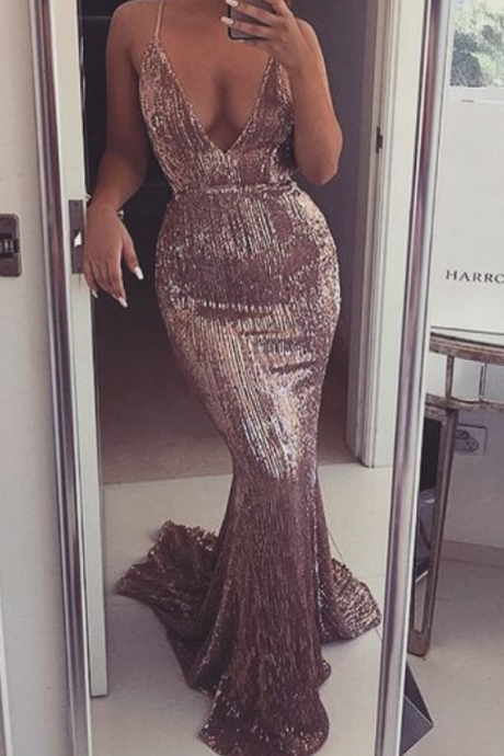 Prom Dresses,Sequin Evening Dress,Sequined Prom Gowns,Mermaid Prom Gown,Beautiful Formal Gown,Evening Dress