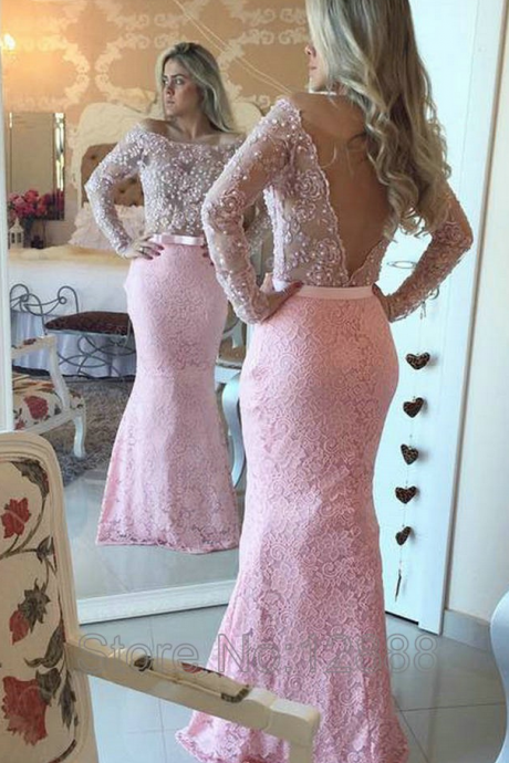 Backless Evening Dress, Off The Shoulder Evening Dress, Long Sleeve Evening Dress, Pale Pink Evening Dress, Mermaid Evening Dress, Lace Evening Dress, Sexy Formal Dresses, Formal Dress