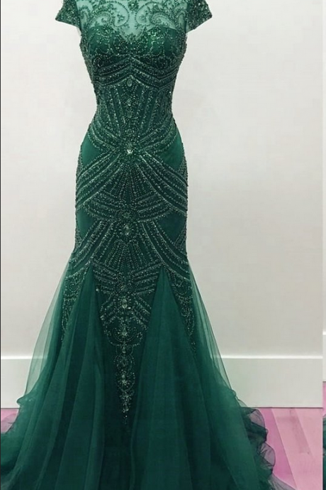 Fully Beaded Mermaid Prom Dresses Pageant Evening Gowns,Fashion Prom Dress,Sexy Party Dress,Custom Made Evening Dress
