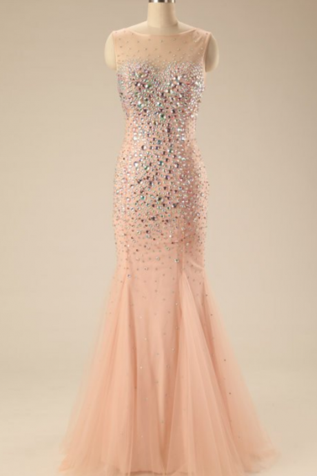 Light pink tulle beading prom dresses,sequins round neck bowknot mermaid long evening dresses