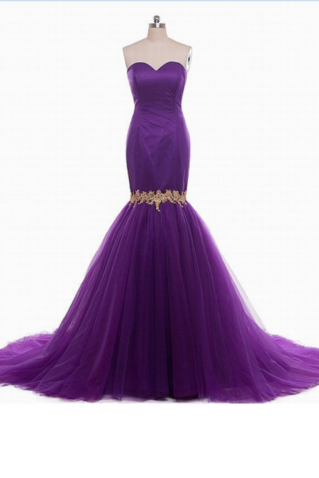 Purple Mermaid Strapless Sweetheart Prom Wedding Dress Formal Dresses
