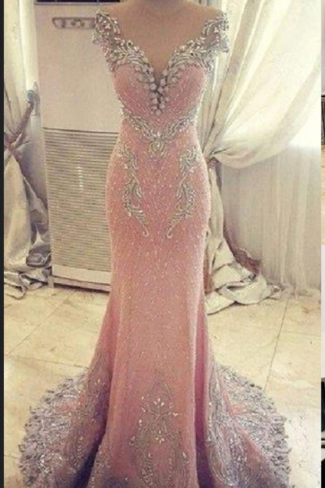 Cheap prom dresses ,New Arrival Prom Dress,Modest Prom Dress,Luxurious Crystal Pink Mermaid Evening Dress Zipper Button Back