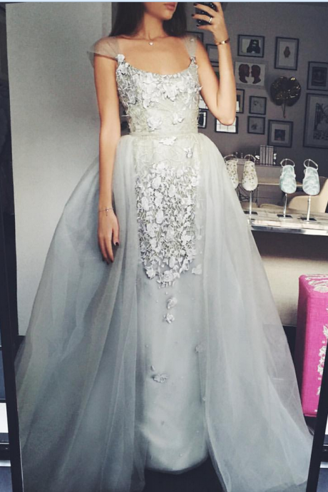 Sexy Prom Dresses,Elegant A-Line Scoop Tulle Cap-Sleeves Appliques Prom Dress