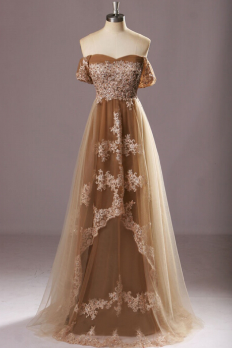 Off the Shoulder Lace Prom Dresses, Floor-Length Evening Dresses,Prom Dresses