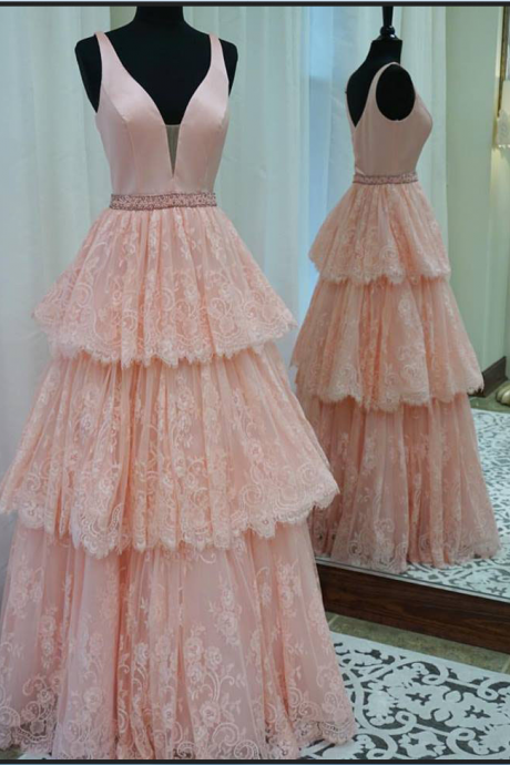 A line High Quality Blush Pink Lace Prom Dress,Tiered Skirt Lace Formal Party Dress