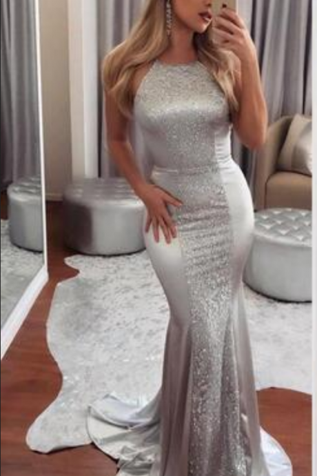 New Arrival Mermaid Evening Dresses Backless Halter Neck Silver Floor Length Formal Prom Gowns Custom Made