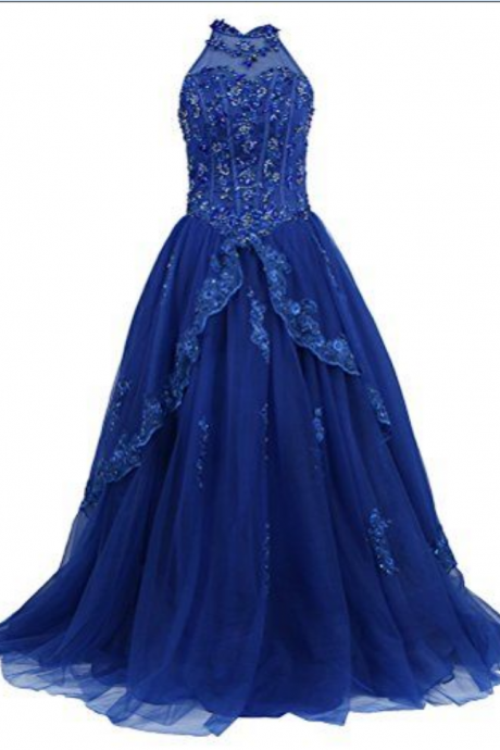 Charming Prom Dress, Royal Blue Tulle Appliques Prom Dress, Sleeveless Prom Dresses, Long Evening Dress, Formal Dress