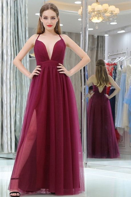 Burgundy Deep V-neck Tulle Prom Dress,Tulle Backess Evening Dress