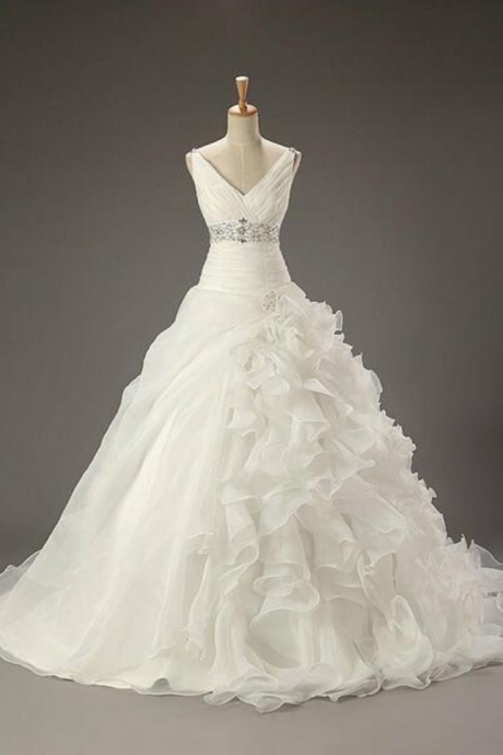 Custom Made White V-Neckline Chiffon Ruffle A-Line Wedding Dress