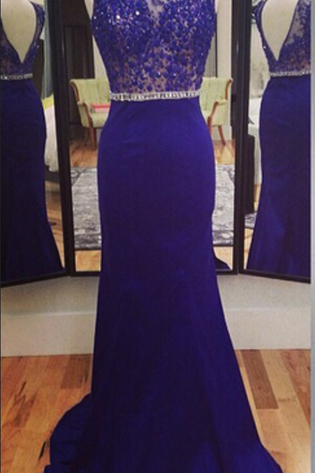 Charming Prom Dress,Blue Mermaid Prom Dress,Long Evening Dresses,Formal Evening Dress