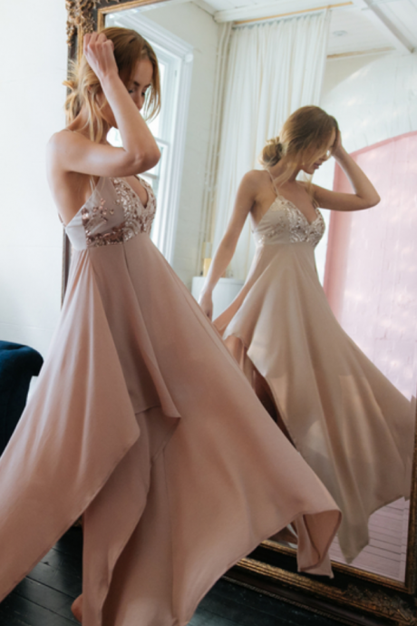 Gorgeous Straps Prom Dress,Long V Neck Chiffon Party Dress,Sexy Backless Prom Dress,Prom Gown