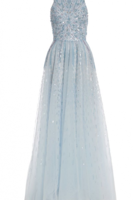 Light Blue Prom Dresses, Long Chiffon prom Dresses,Scoop neck Crystals prom Dresses, Custom Made Party Dresses