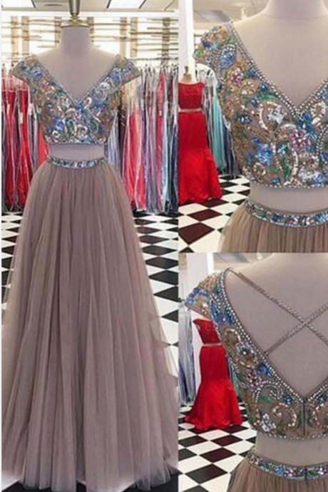 Two Pieces Beading Prom Dress,Long Prom Dresses,Prom Dresses,Evening Dress, Prom Gowns, Formal Women Dress,prom dress