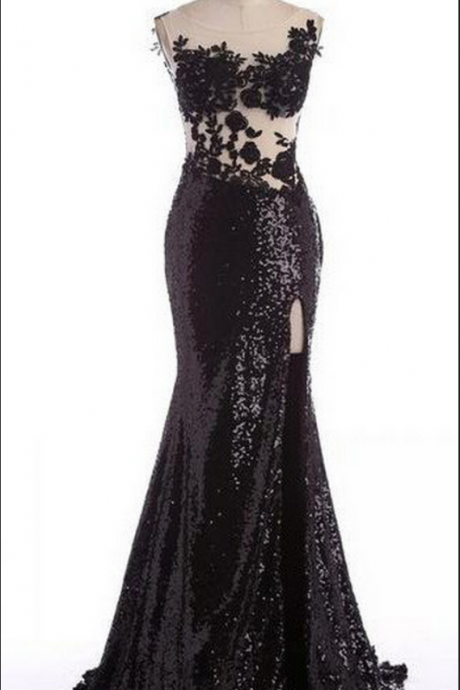 Black Long Appliques Mermaid Sweetheart Sequins Prom Dresses Prom Gowns,Prom Dresses