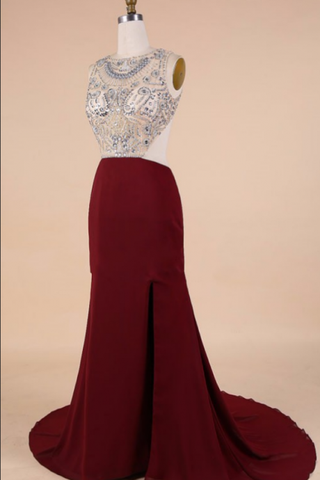 Slit Side Chiffon Women Evening Gowns Sexy Backless Cap Sleeve Crystal Beaded Floor Length
