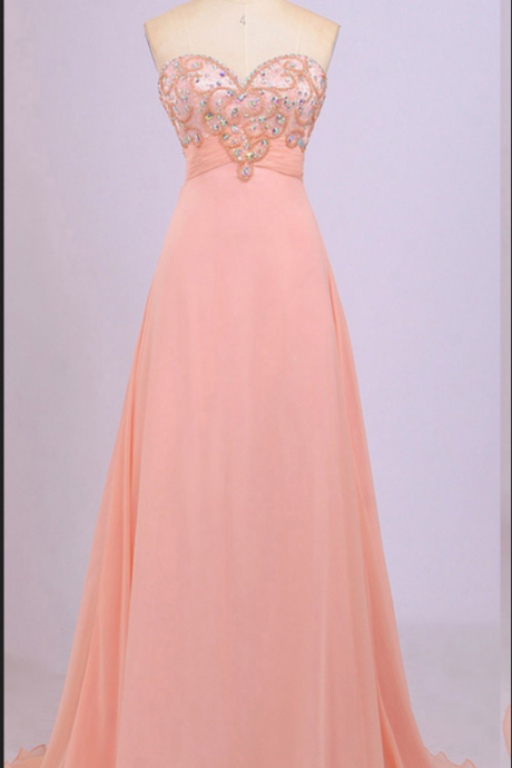 Different Blush Prom Dresses, Sweetheart Empire Prom Gowns, Beaded Chiffon Prom Dress with Ruching Detail