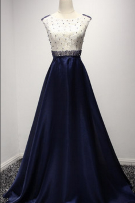 Charming Prom Dress,Sleeveless Formal Evening Dress,Formal Gown,Prom Dresses Prom Gowns,navy blue Prom Dresses, Party Dresses