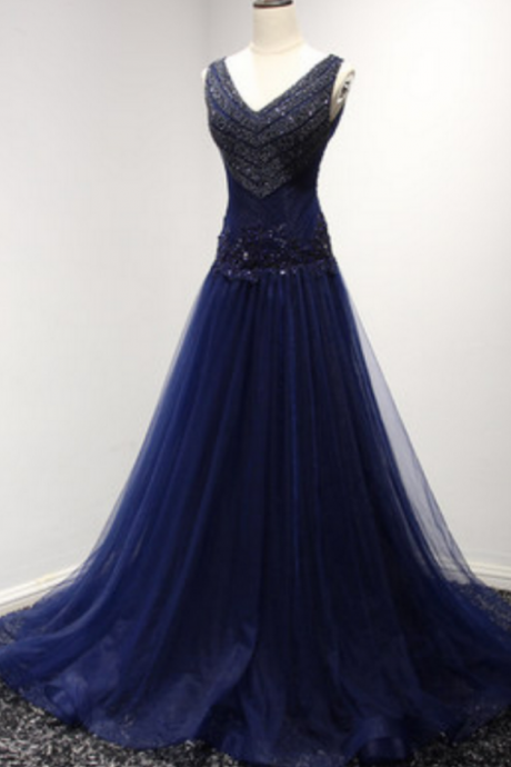Charming Prom Dress,Navy Tulle Lined with Black Bridal satin Woman Dress, Backless Homecoming Dress,Party