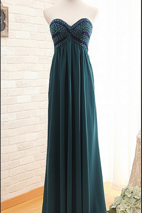 Prom Dress, Ready to Ship Hunter Empire Beaded prom Dress,Long A-line Chiffon Graduation Dress,Beaded Empire