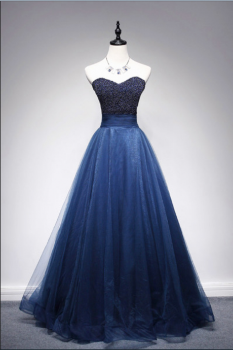 New Arrival Navy Blue A-line Sweetheart Strapless Beaded Tulle Long Prom Dresses