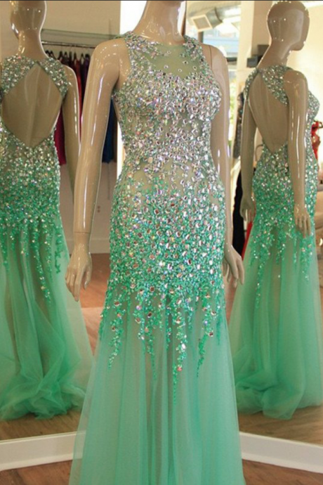 Mint Tulle Sparkly Rhinestone Beaded Prom Dresses Open Back Sexy Formal Dresses Mermaid Shinny Long Prom Gowns Graduation Dresses