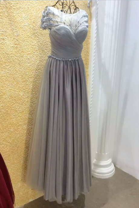 Short Sleeves Evening Dress,A-line Evening Dress,Tulle Evening Dresses,Pearls Formal Dresses,See Through Prom Dresses,Floor Length Evening Dress With Bow ,pleated Evening Dress