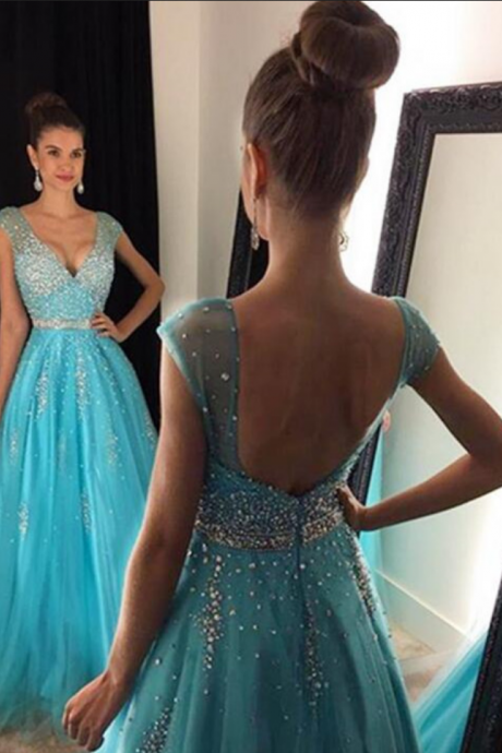 V-neck Floor Length Evening Gown Prom Dress with Beadings