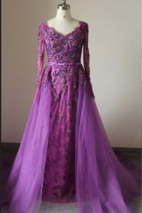 Fuchsia A-Line V-Neck Long Sleeves Natural Zipper Sweep/Brush Train Prom Dresses