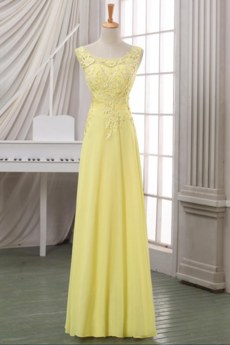 New arrival yellow lace evening dress,lace appliqued V back evening dress/prom dress,yellow maxi dress,yellow lace pageant dress.
