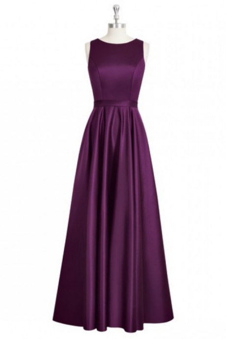Dark Purple Sleeveless A-line Long Prom Dress with Open Back