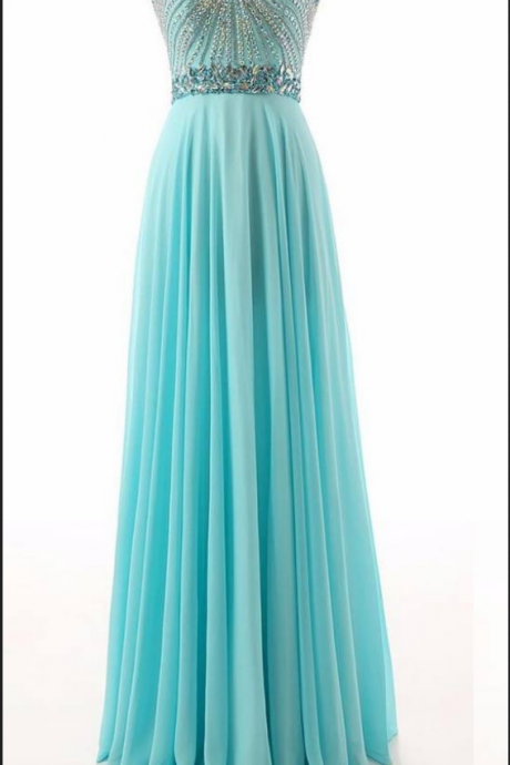 Strapless Sweetheart Beaded Chiffon Long Prom Dress