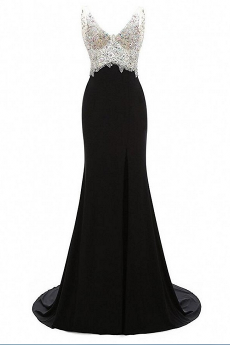 Women's Mermaid Prom Dress V-Neck Evening Gowns Chiffon Beaded Prom Gowns Long Evening Dresses