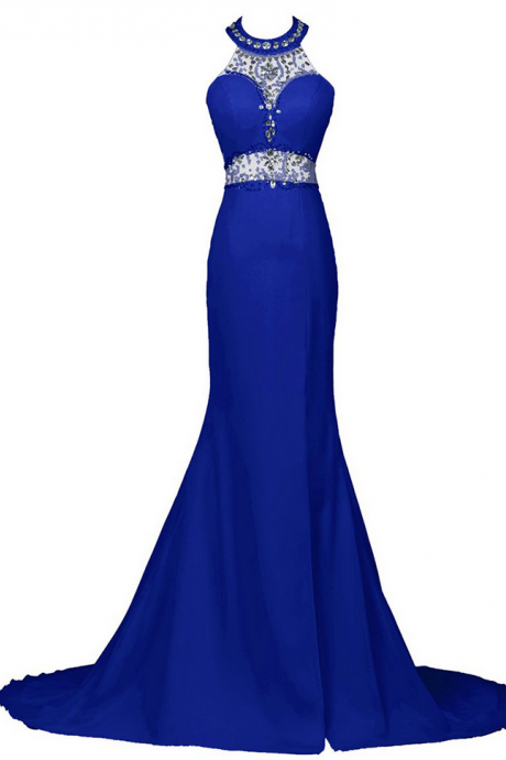 Sexy Beaded Halter Trumpet Prom Dress, Royal Blue Sequins Low Back Long Prom Dress, Front Split Sweep Train Chiffon Prom Dress