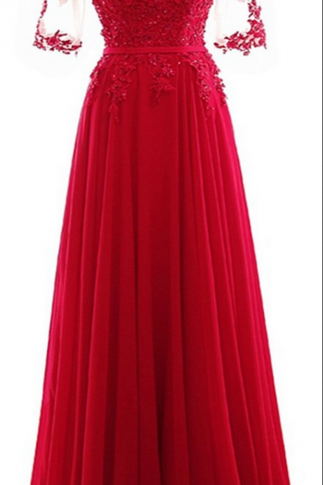 Longue Cheap A Line Red Chiffon Backless Long Evening Dresses